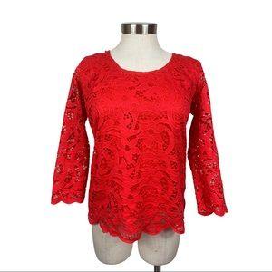 Nanette Nanette Lepore Red Lace 3/4 Length Top